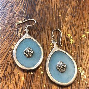 Blue stone & sterling silver earrings